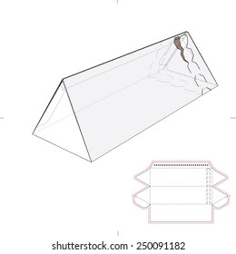 Triangular Tube Box with Zipper Seal and Die Cut Template
