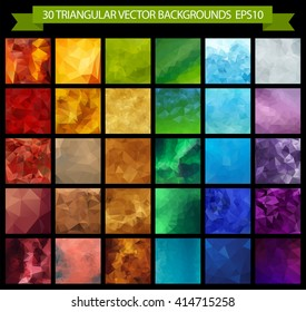 Triangular vector backgrounds set. Low poly gradient illustration. Bright crumpled style. Collection of colorful abstract backgrounds for cards, wallpapers or covers. Geometric triangular pattern.