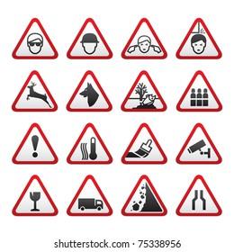 Triangular Warning Hazard  Signs set