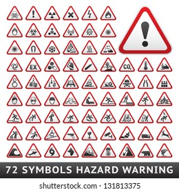 Triangular Warning Hazard Symbols. Big red set, vector illustration