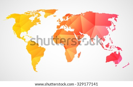 Triangular World Map Design Geometric Style Stock Vector Royalty