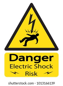 A triangular yellow shock warning sign with an electrocuted man and text isolated on a white background