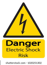 A triangular yellow shock warning sign with text isolated on a white background