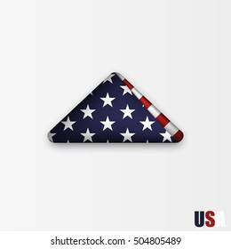 triangularly folded American flag