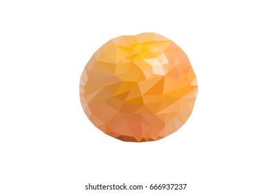 Triangulation of grapefruit . Polygonal grapefruit. low poly Vector illustration.