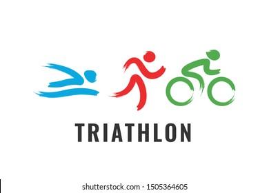 Triathlon Activity Logo icons - swimming  running  bike. Simple sports