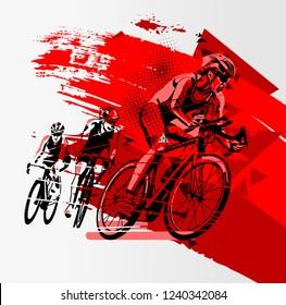 Triathlon athlete ride the bike