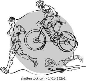 triathlon athletes doing cycling and swimming and running