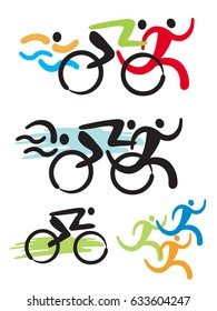 Triathlon fitness icons. Stylized colorful Illustration of Triathlon athletes. Vector available.