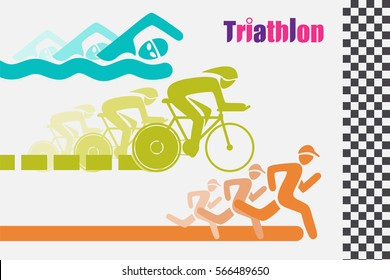 Triathlon graphic symbol. Triathletes are swimming running and cycling icon in colorful racing to the finish line.