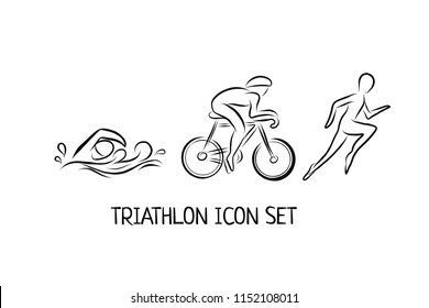 Triathlon hand drawn outline icons set for sport event or marathon or competition or triathlon team or club materials, check list, invitation, poster, banner, logo. Swim, bike, run icons isolated