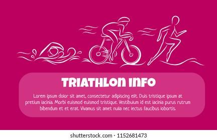 Triathlon hand drawn outline icons on banner for sport event or marathon or competition or triathlon team or club , check list, invitation, poster, banner, logo. Swim, bike, run icons, sport tattoo