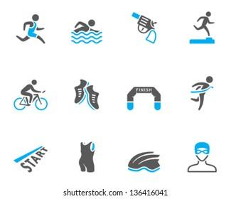 Triathlon icon series  in duo tone colors.