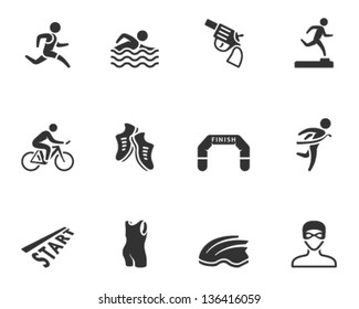 Triathlon icon series  in single color