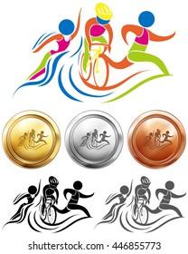 Triathlon icon and sport medals illustration