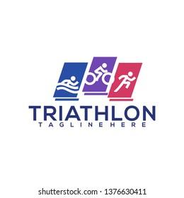 Triathlon Logo Icon Symbol Running Cycling Swimming Symbol Outdoor Sports