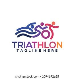 Triathlon logo icons buttons Icons symbolizing triathlon, swimming, cycling and outdoor sports. Vector illustration.
