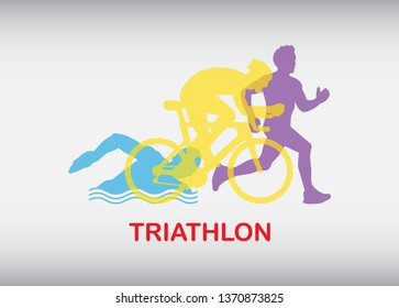 Triathlon. Triathlon logo icons buttons Icons symbolizing triathlon, swimming, cycling and outdoor sports. Vector illustration.