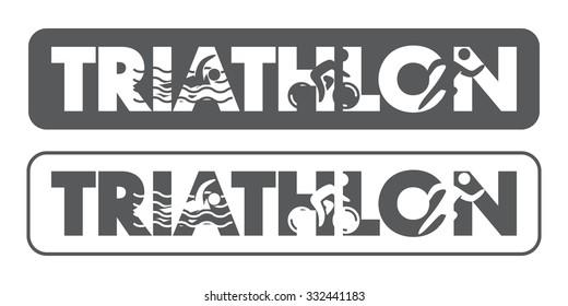 Triathlon logo and label. Silhouettes of figures triathlete.