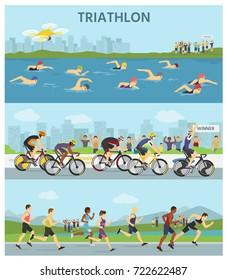 Triathlon marathon sport competition race infographic vector illustration sportsmen people on bike, run, swim vector illustration