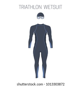 Triathlon men's fullsleeve  wetsuit. Vector illustration.
