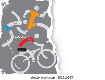 Triathlon Race icons on grunge stylized torn paper background.  Illustration of Three triathlon athletes. Vector available. Place for your text or image. Vector available.
