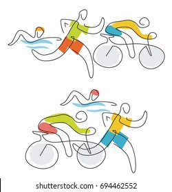 Triathlon race line art. Two  illustration of triathlon athletes, line art stylized. Vector available.