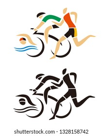 Triathlon Racers, Runner, cyclist, swimmer icon. Two Stylized illustrations of Three triathlon athletes. Isolated on white background. Vector available.