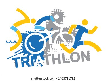 Triathlon racers with sign triathlon.  Three stylized triathlon athletes on the grunge background with inscription triathlon. Vector available.