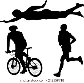 triathlon silhouette - vector