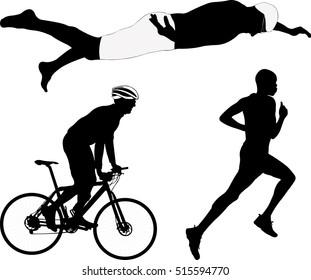 triathlon silhouette - vector