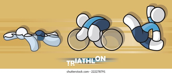 Triathlon sportsman on yellow background - swimming, cycling, running. Sport icon. Vector illustration.