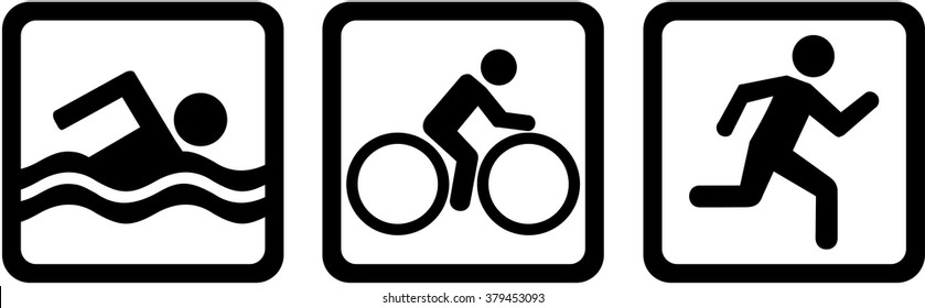 Triathlon triple swim bike run