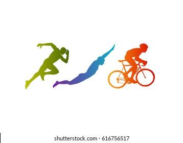 Triathlon vector silhouettes set on white background