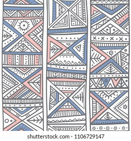 Tribal African seamless pattern in boho style with ethnic ornaments. Can be printed and used as wrapping paper, wallpaper, textile, fabric, etc.