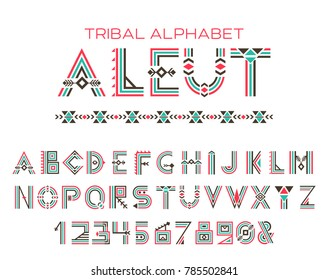 Tribal Aleut alphabet. Native Historic Cyrillic set of letters and figures, traditional ethnic characters in style of customs and traditions of Alaska culture. Vector illustration