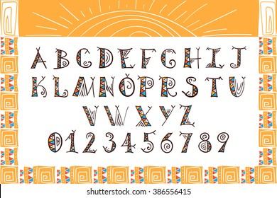 Tribal Alphabet Ethnic Font Vector African Or Aztec Style Letters Hand Drawn Boho