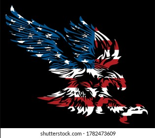 tribal american eagle with flag design inside for team or holiday