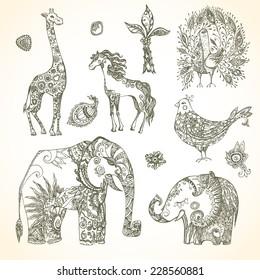 Tribal animal  set