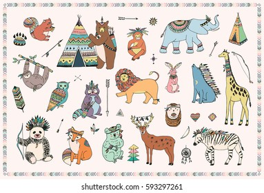 tribal animals vector illustrations collection