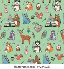 tribal animals woodland forest vector pattern