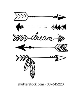 Tribal arrows isolated on white. Hand drawn vector design set.