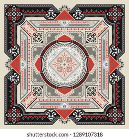 Tribal art Bandana print. Ethnic geometric print.
