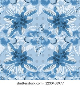 Tribal art boho print, vintage gray and blue flower background. Background texture, wallpaper, floral theme. Abstract ethnic vector.