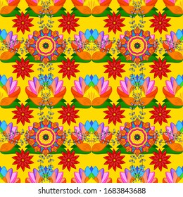Tribal art boho print, vintage flower background. Background texture, wallpaper, floral theme in orange, red and yellow colors. Abstract ethnic vector seamless pattern.