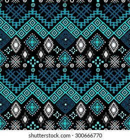 Tribal art boho seamless pattern. Ethnic geometric print. Colorful abstract repeating background texture. Fabric, cloth design, wallpaper, wrapping
