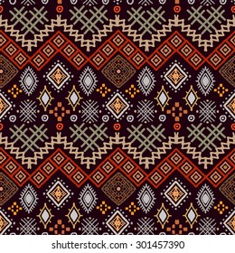 Tribal art boho seamless pattern. Ethnic geometric print. Colorful repeating background texture. Fabric, cloth design, wallpaper, wrapping