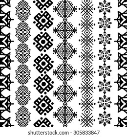 Tribal art boho seamless pattern. Ethnic print. Repeating border background texture in black and white. Fabric, cloth design, wallpaper, wrapping