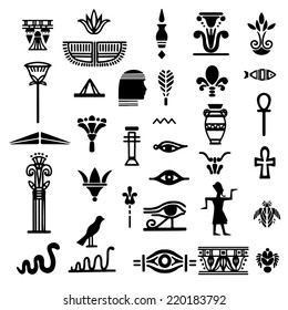 Tribal art Egyptian ethnic icon. Egypt sketch cartoon hand drawn black silhouettes isolated on a white background. Tattoo. Logo design