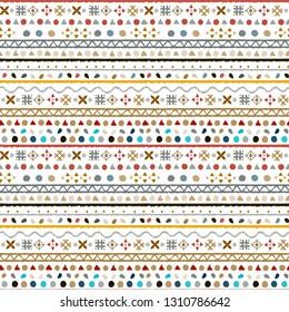 Tribal art, ethnic seamless pattern. Abstract geometric background texture. Repeating folk print. Fabric design, wallpaper